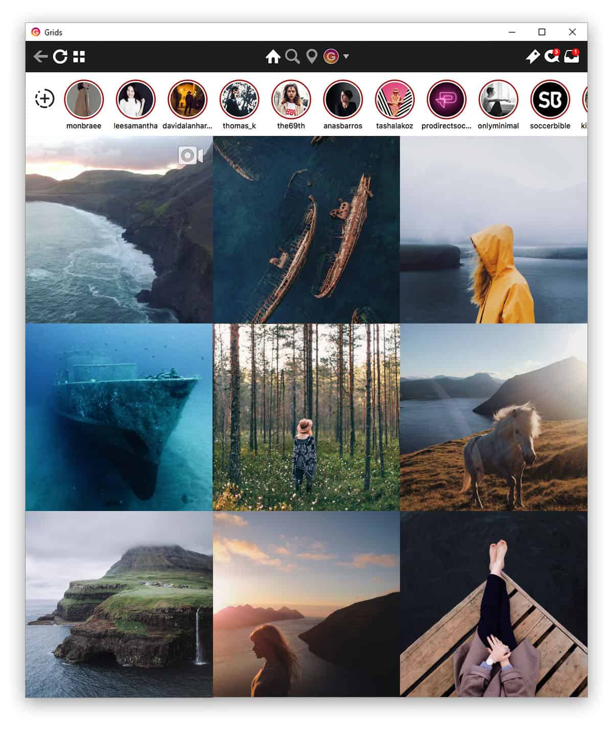Grids for Instagram مدیریت اینستاگرام در ویندوز و مک
