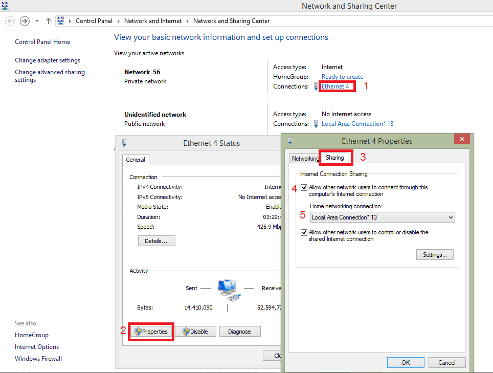 اشتراک گذاری اینترنت در ویندوز 8.1 و 7