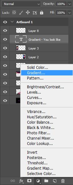 آموزش تغییر رنگ متن یا عکس با افکت گرادینت در فتوشاپ photoshop gradient