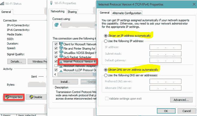 مشکل عدم اتصال به اینترنت در ویندوز 7 ip address