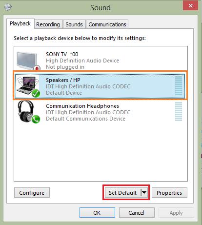 انتخاب خروجی صدا HDMI به عنوان دستگاه صدا پیش فرض ( Default audio device )