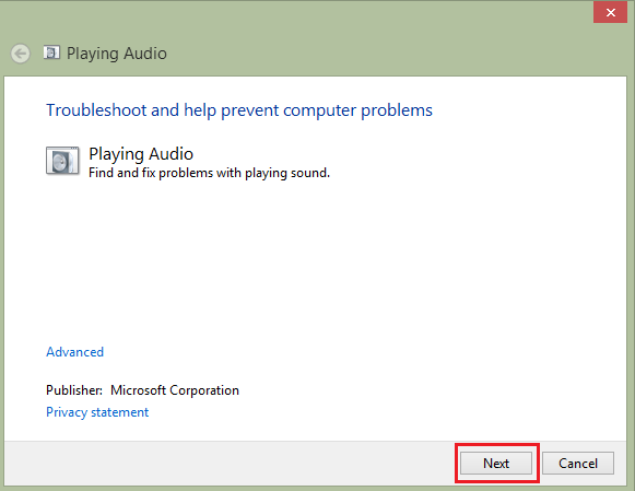 استفاده از Windows Sound Troubleshooter
