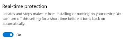 غیرفعال سازی  real-time protection در ویندوز دیفندر 10